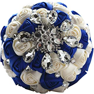 Moleya 7 Inch Customization Romantic Royal Blue Wedding Bride Holding Bouquet with Satin Roses and Rhinestones