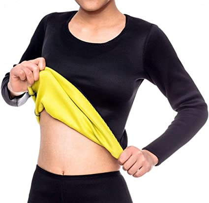 NOVECASA Camisa Sauna Manga Larga Shirt Trajes de Sauna Deportivos Mujer de Neopreno Body Shaper para Sudoración,Quema Grasa,Adelgazante