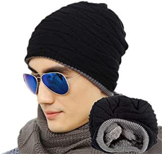YOU ZIHUA Mens Knit Hat Fluff Thicker Smple Street Leisure Warm Hedging Cap