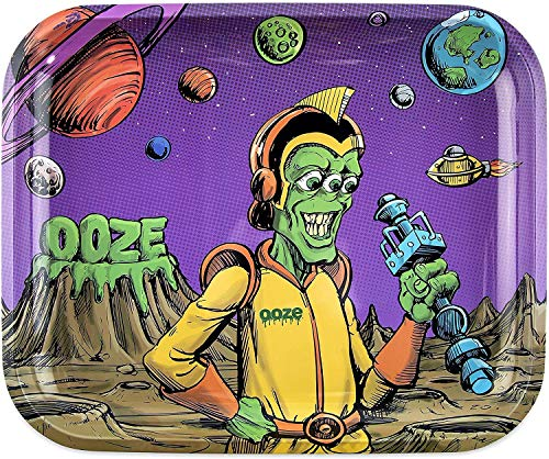 "Ooze Metal Rolling Tray Large- (Invasion) 14""x12"" - Full Size Rolling Tray - Large Rolling Ash Tray - Cigarette Rolling Trays - Smoke Accessories - Rolling Paper Tray - Rolling Plate"