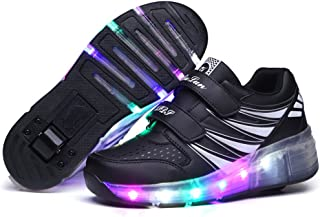 BY0NE Double Roller Skate Shoes Light up Trainers Sneakers with Two Wheels for Kid Boys Girls Adult Gift
