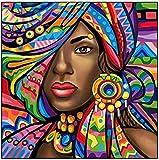 LGCCC Pintura Al Óleo Por Número Bricolaje pintura por números para adultos Kit de principiantes Decoraciones para el hogar -Mujer africana abstracta16×20 Pulgadas(sin Marco)