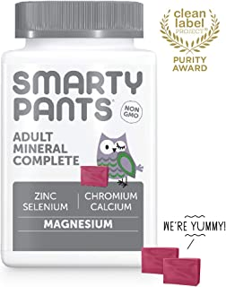 SmartyPants Adult Mineral Complete Daily Gummy Vitamins: Multivitamin, Multimineral, Gluten Free, Magnesium Citrate, Calcium Citrate, Vitamin C, D3, E, K, Zinc, 60 Count (30 Day Supply)