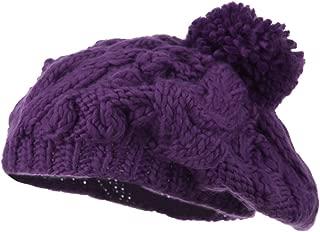 Twist Beret Knit Pom Pom - Purple