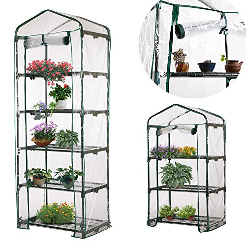 SELUXU Five Tier Green Household Plant Mini Portable Garden Greenhouse Plants Shed Warm Room for Indoor and Outdoor