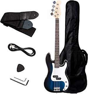 $83 Get Safstar Electric Bass Guitar Full Size 4 Strings with Amp Cord Strap Carrying Bag for Starters Beginners (Blue)