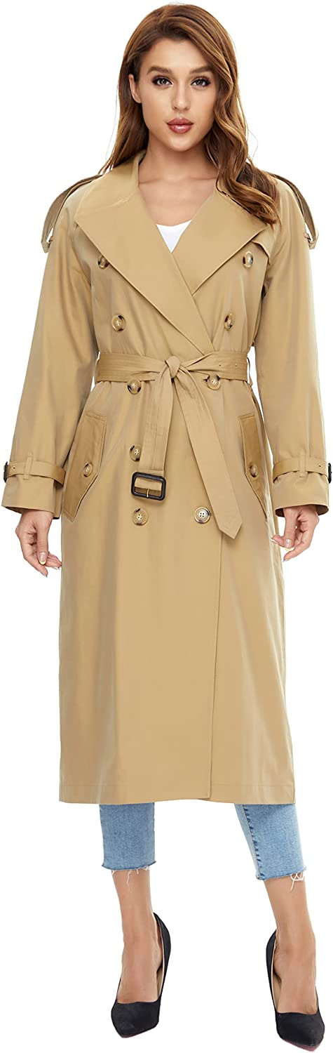 WAIDONGBEI Women's Low price Trench Detroit Mall Coat with Double-breasted Rain B