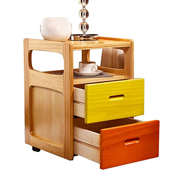 Bedside Table Solid Wood Bedside Table Drawer Locker Simple Modern Pulley Movable Bedroom Storage Locke Sofa Side Cabinet Size 36 5x40x52cm Color B