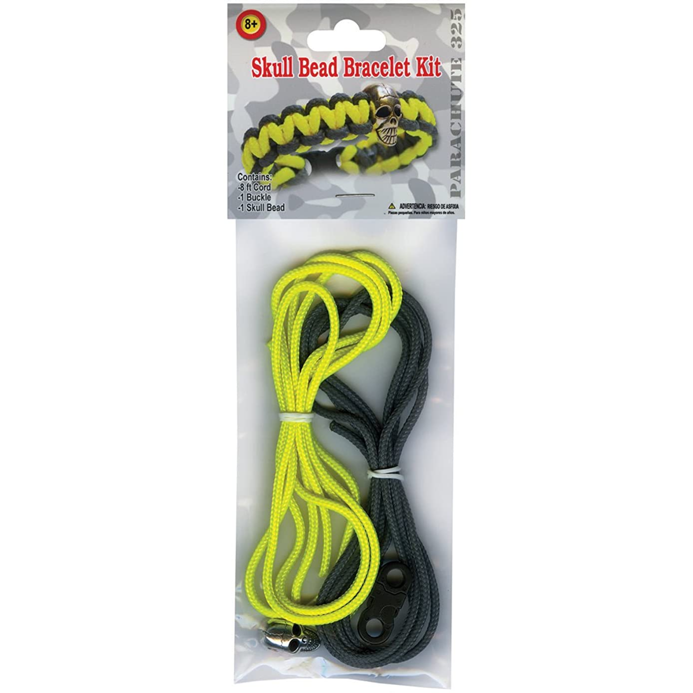 Pepperell Parachute Cord Project Kit, Yellow and Gray Skull Bead