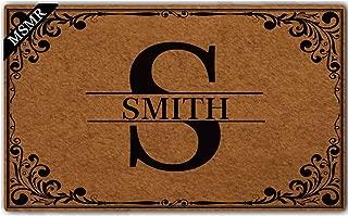 MsMr Custom Doormat Monogrammed Pattern Personalized Name and Letter Monogram Non Slip Entrance Indoor Outdoor Welcome Door Mat 30