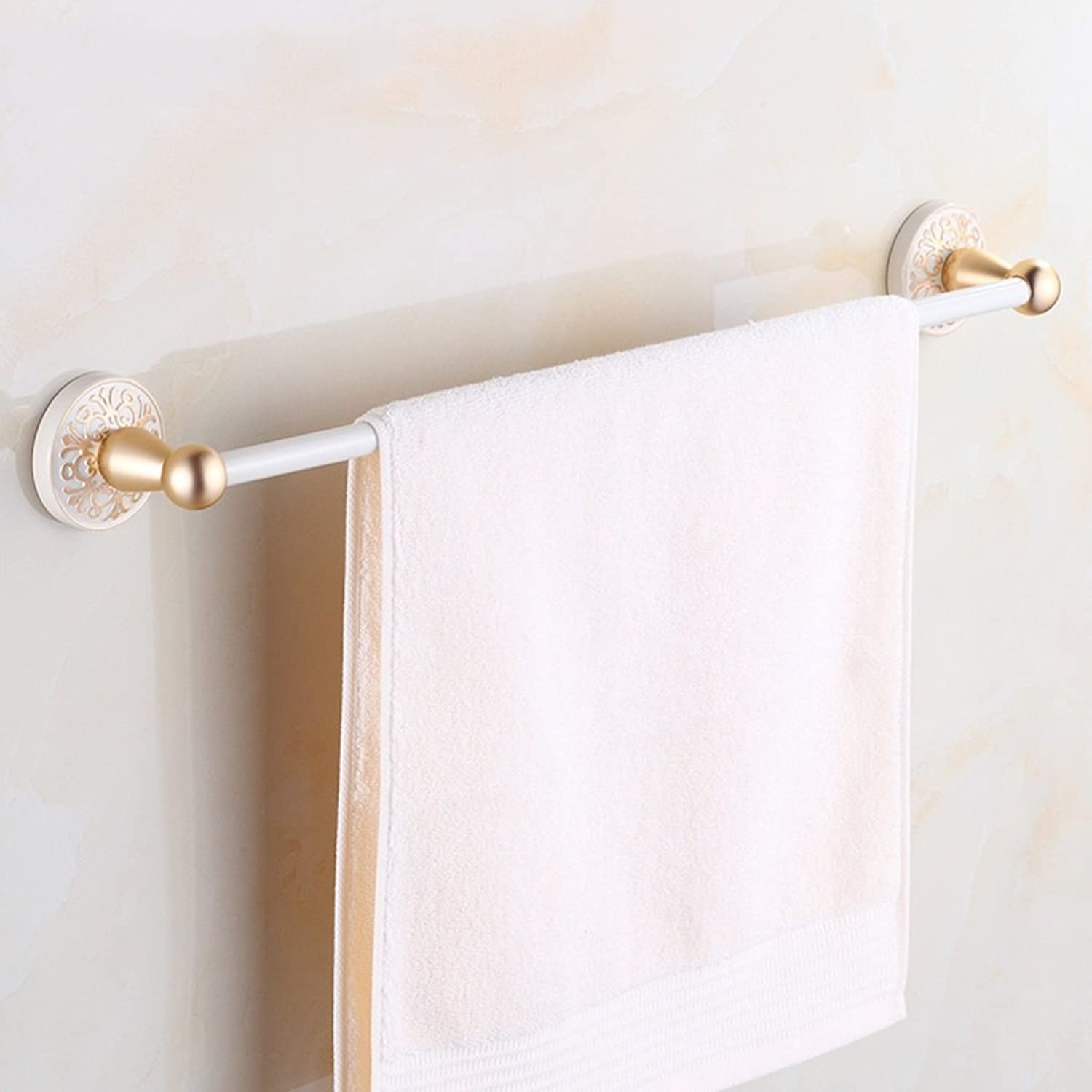 Gweat European-Style Aluminum-Magnesium Alloy Towel Bar Wall Mounted Bathroom Fittings Towel Rack, Champagne gold (color   B)