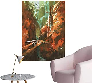 Wall Stickers for Living Room Spaceship Background of Waterfall Lighthouse and Red Cany ntasy Lands Vinyl Wall Stickers Print,16