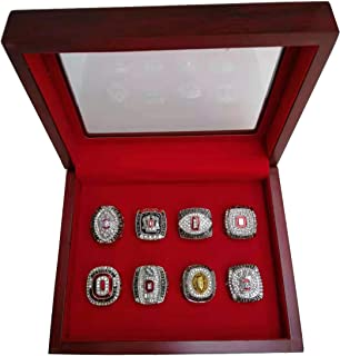 HASTTHOU Ohio State University Buckeyes Championship Ring Collectible Replica Football Silver Championship Ring Set