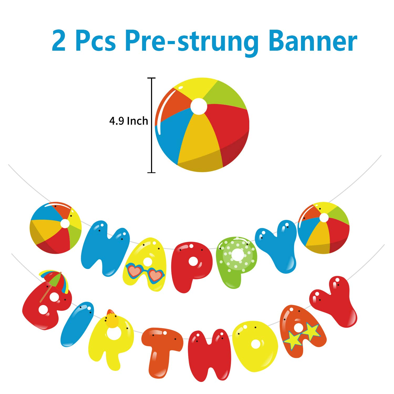 47 Pcs Beach Ball Birthday Party Decoration Supplies with Pre-strung Banners 24pcs Cupcake Topper Cake Topper 20pcs Inflatable Beach Balloons for Summer Colorful Beach Pool Themed Kids Birthday Party Decorations