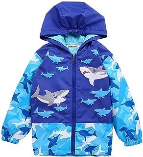 Kids Girls Boys Cartoon Shark Windproof Jacket Casual Zipper Hooded Coat Outerwear
