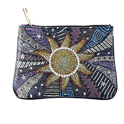 MezoJaoie - Cartera para mujer, diseño de diamantes, monedero, tarjetero, monedero, bolso para teléfono, cartera, bolso para viajes, accesorios de maquillaje BB180-Sonnenblume /.