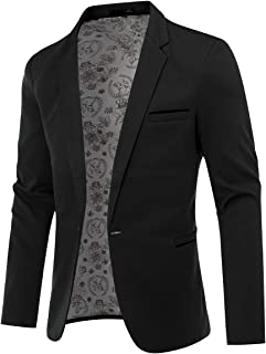 Mens 1 Button Blazer Slim Fit Casual Business Suit Jacket Daily Sport Coat