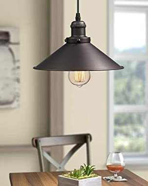 Zeyu Industrial Pendant Light, Vintage Hanging Light Fixture for Dining Room, Oil Rubbed Bronze Finish with Metal Shade, 102-