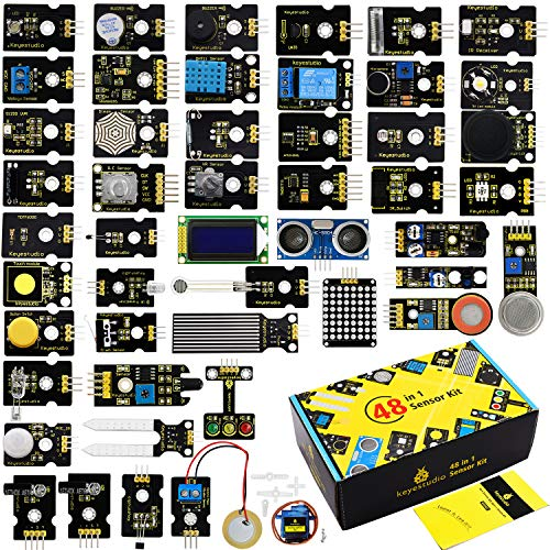 KEYESTUDIO 48 in 1 Sensor-Set für Arduino-Projekte mit LCD, 5 V Relais, IR-Empfänger, Leitungsverfolgung, Ampel, 9G Servo Motormodul, PIR, Reed Switch, Flamme, Ultraschallsensor usw.