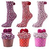 YSense 3 paires Femme Hiver de Chaud Cadeaux Cupcake Chaussettes Moelleuses Floues chaussettes pantoufle doux