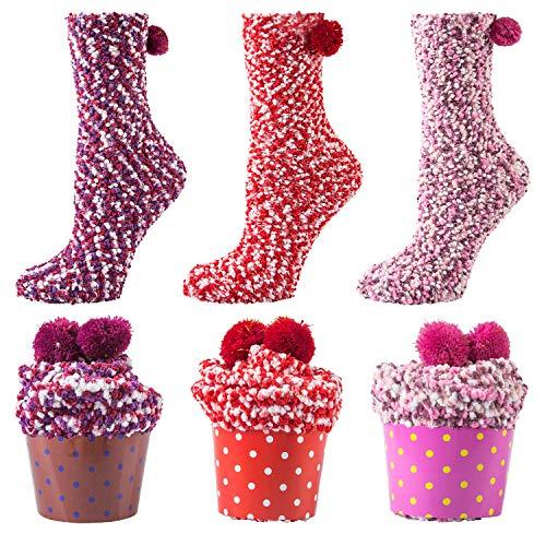 YSense Damen Winter Warme Cupcake Design Flauschige Haussocken Mädchen Kuschel weihnachtssocken 3 Paare