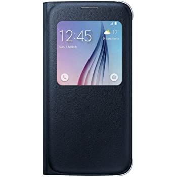 Samsung Leather-Effect S-View Folio Schutzhülle Case Cover in Kunstleder für Galaxy S6, schwarz Sapphire