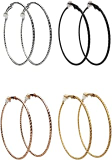 Clip On Earrings for Women Silver Rose Gold Black Hoop Earrings for Non-Pierced
