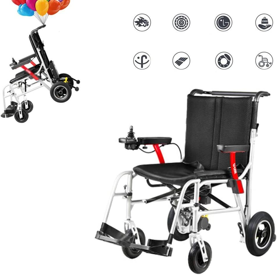 GOFUS Chair Silla De Ruedas Inteligente Silla De Rueda Eléctrica Power Plegable Wheelchair Ligera De La Aleación De Aluminio Silla,conduzca con Potencia O Use como Silla De Ruedas Manual