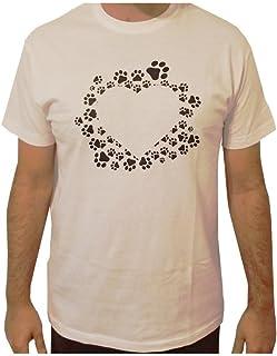 VersoLibre Camiseta de Hombre diseño corazón con Huellas de Perro realizada con serigrafía Digital. 100% algodón. Tallas Desde la S hasta XL