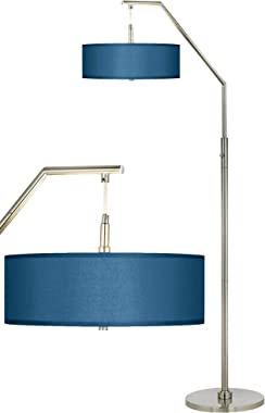 Modern Contemporary Tall Arched Lamp Floor Standing Brushed Nickel Silver Metal Blue Textured Faux Silk Fabric Shade Decor fo