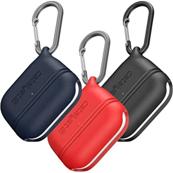 2019 , Protective Skin Cover with Carabiner Airpod Pro Case Vena Full-Body Rugged Case Designed for Apple Airpods Pro Red Anti-Shock Silicone Compatible With Wireless Charging
