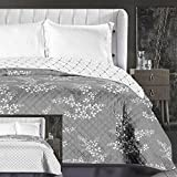 DecoKing Tagesdecke 220x240 cm weiß graphit grau stahl anthrazit mit lila Schimmer Bettüberwurf zweiseitig leicht zu pflegen Blumen Hypnosis Collection Calluna
