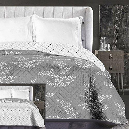 DecoKing Tagesdecke 220x240 cm weiß graphit grau stahl anthrazit mit lila Schimmer Bettüberwurf zweiseitig pflegeleicht Blumen Hypnosis Collection Calluna