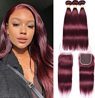 """WOME 8A Peruvian Virgin Human Hair Bundles with Closure Silky Straight Wine Red Hair Weaves with Free Part Lace Closure Color 99J Hair Extensions (12""""14""""16""""+12""""Closure,#99J)"""