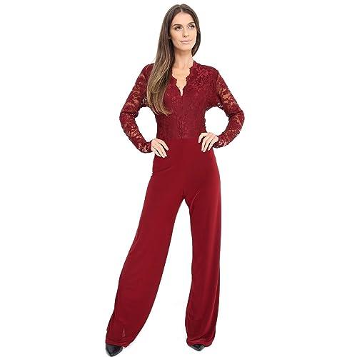 203037a8a6a MALAIKA Fashions® UK Womens Evening Party Playsuit Ladies Lace Long  Jumpsuit Plus Size UK 16