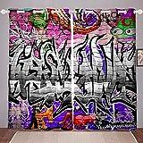 Tbrand - Tende da parete con graffiti colorati per camera da letto, soggiorno, per bambini, ragazzi, ragazze, cultura di strada, finestre, tende sotterranee, decorazione per feste, W66 x L90