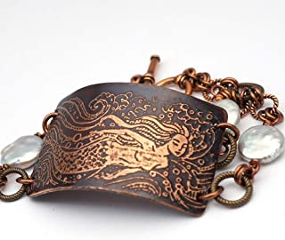 Etched copper mermaid bracelet with freshwater pearls 7 1/2 inches long