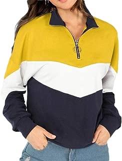 Womens 1/4 Zip Sweatshirts Color Block Hoodies Pullover Polka Dot Hooded Sweatshirt
