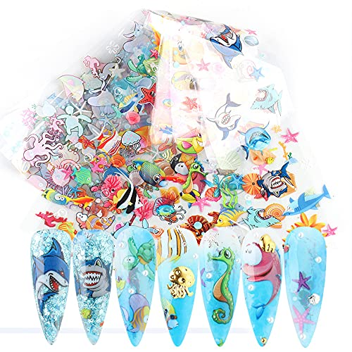 Marine Life Nail Foils Nail Art Transfer Stickers Blue Series Sea Animal Nail Art Foil Decals Nail Art Supplies Starry Sky Paper Manicure Tips Accessories DIY Shark Starfish Nail Designs for Women