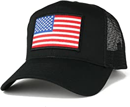 AC Racing USA American Flag Patch Snapback Trucker Mesh Cap - Black