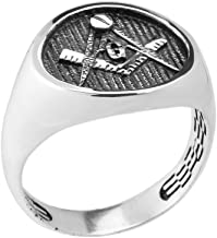 Men's 925 Sterling Silver Freemason Square and Compass Masonic Ring