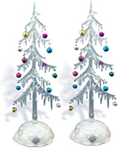 BANBERRY DESIGNS Light Up Tabletop Tree Set - White Frosted Acrylic Tree with Miniature Jingle Bell Ornaments - LED Slow C...