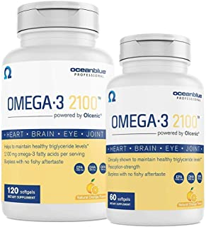 Oceanblue Omega 3 2100 – 120ct + 60ct Bonus Bottle – Triple Strength Burpless Omega 3 Fish Oil Supplement with High-Concentration EPA and DHA – Wild-Caught – Orange Flavor