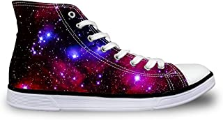 Dellukee White Canvas Sneakers Women Casual High Top Walking Shoes Landscape Painting Size 9