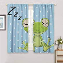 Jinguizi Cartoon Curtain Panels Sleeping Prince Frog in a Cap Polka Dots Background Cute Animal World Kids Design Curtains for Bedroom Green Blue 55 x 63 inch