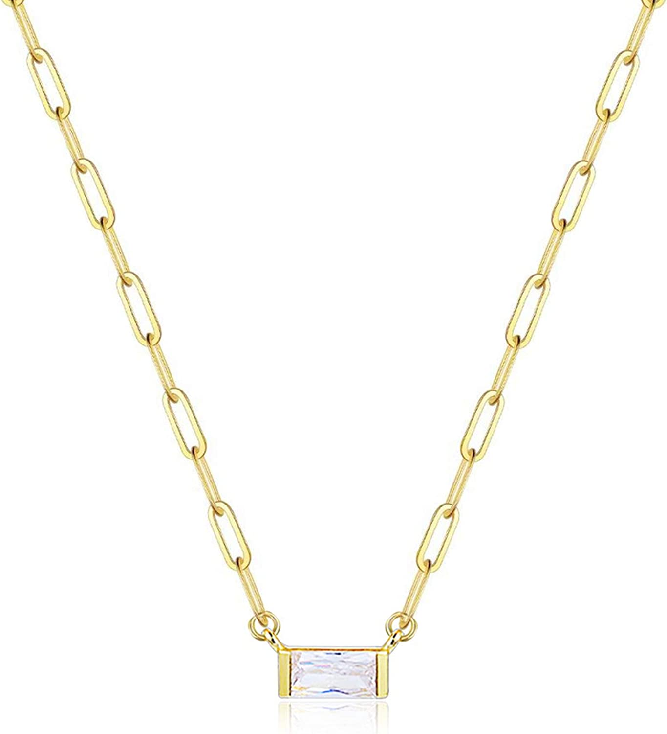 14K Gold Plated CZ Solitaire Pendant Necklace | Link Chain Necklace Jewelry for Women Girls