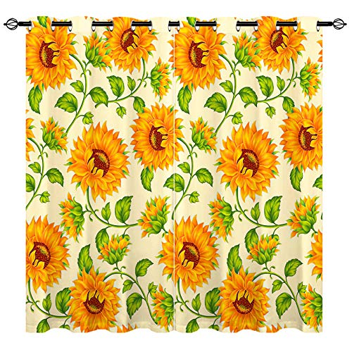 ANHOPE Sunflower Curtains Oil Oainting Art Theme Window Drapes with Yellow Flower Green Leaf Plant Print Pattern Grommet Home Decor Curtains for Bedroom Living Room Kitchen, 2 Panels, 42 x 63 Inch