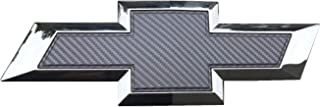 "Qbc Craft Chevy Bowtie Emblem Overlay (3 Pack) Grey 3M Carbon Fiber Cut-Your-Own Car Wrap Kit DIY GM Symbol Logo Grille Easy to Install 12"" x 4"" Sheets (x3) Gray"