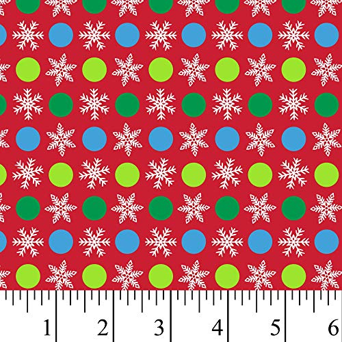 Christmas Snowflake Flannel Fabric by The Yard