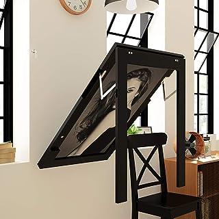 Balcone Hanging Tabella ringhiera in Ferro Che appende Color : Black, Size : 60 * 40cm Tavolo Pieghevole Flower Stand Semplice Tavolino Wall Hanging Studio Desk